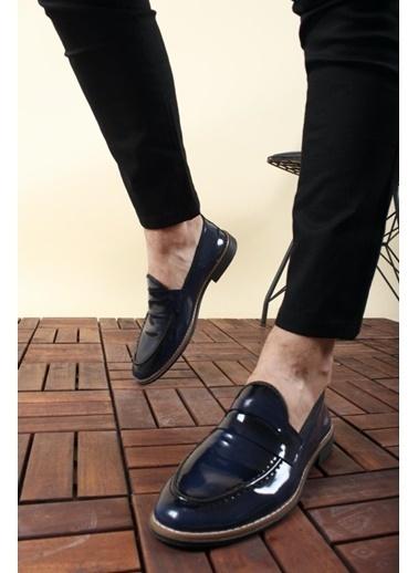Oksit Jes Püsküllü Erkek Loafer Rugan Ayakkabı Lacivert